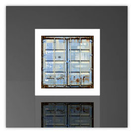 Würfelleuchte, Motiv mit Container blau 202b