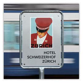 StadtSicht 128a, Werbeschild des Schweizer Hofs