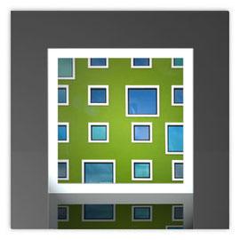 Quadratleuchte, Motiv mit Grüne Fenster 001