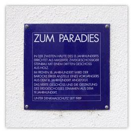 StadtSicht 125c, Denkmalschutzschild: Zum Paradies