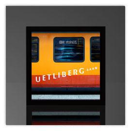Quadratleuchte, Motiv mit Uertliberg Bahn 001
