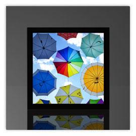 Quadratleuchte, Motiv mit Fliegende Regenschirme 001