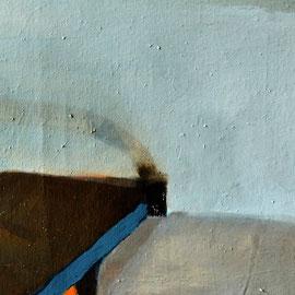 Lit (55 x 120 cm) huile, goudron sur toile. 2016