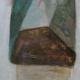 Pierre (150 x 80cm) huile, goudron sur toile. 2016