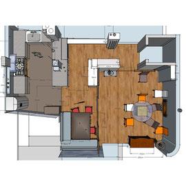 projet finalisé 3D : espace ouvert cuisine - salle à manger