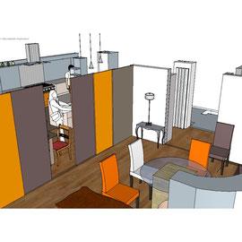 intimisation espace salle à manger par parois japonaises amovibles