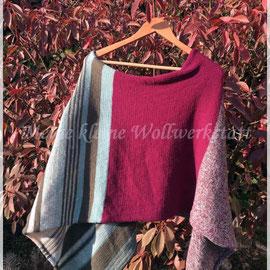 """Poncho """"Rotkehlchen"""" / Farbzusammenstellung sowie Poncho gestrickt und fotografiert von Petra Fuchs."""