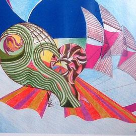 Karola Fels, Künstlerin, Malkurs, Köln, Lindenthal - Welle und Wind 1980 - Pastellkreide, Folie