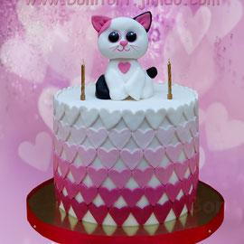 Торт в стиле Омбре с Кошечкой и сердечками)). Вес 6 кг. Высота торта 32 см.