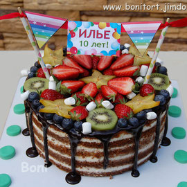 Торт в стиле рустик с растяжкой