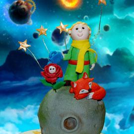 Торт Маленький принц, сахарная фигурка по эскизу мамы именинника
