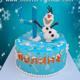 Торт в зимнем стиле Олаф