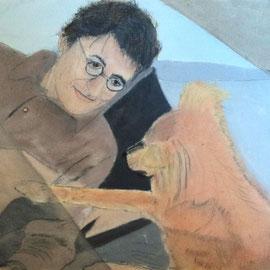 Poeta y perro .:. Oleo sobre tela - 45x32 - 2013