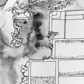 Yardless home IV (new construction home with pool and almost no yard), 2018, ink on paper, 5.5 x 8 inches