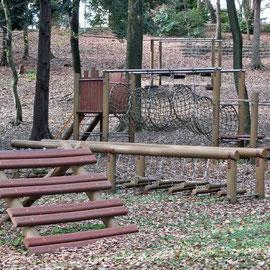 公園内のアスレチックの一部