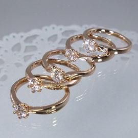 ピンクゴールドエンゲージリング 0.3ctダイヤ付き155.000円