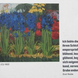 Hinweis auf Gemälde Emil Nolde - Blumenbeet vor dem Museum