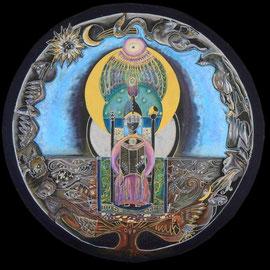 la prière - 2013 - diam 70cm - Pastels gras et secs  et ors - Reproduction interdite