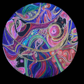 l'exil - 2013 - diam 70cm - Pastels gras et secs  - Reproduction interdite