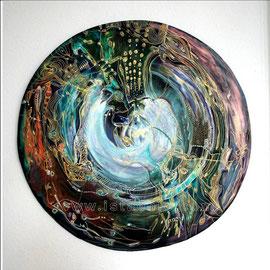 Fusion - diam 0.70cm - Acrylique, Pastels Gras, Cuivre et Ors - 2008 - Toute reproduction interdite