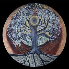 l'arbre de vie - 2013 - diam 70cm - Pastels gras , cuivre et ors  - Reproduction interdite