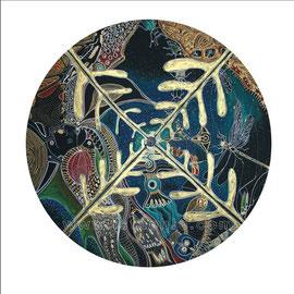 Aux portes de la Nuit - diam 0.70cm - Pastels Gras et Ors - 2009 - Toute reproduction interdite