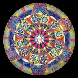 s'abandonner à la lumière -2013 -  diam 70 cm - Pastels secs - Reproduction interdite