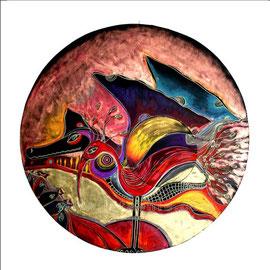 Ibis Rouge - diam 0.70cm - Pastels Gras, Cuivre et Ors - 2010 - Toute reproduction interdite