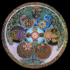 l'alchimiste - 2013 - diam 70cm - Pastels gras et secs, argent et ors  - Reproduction interdite