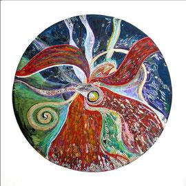 Roue médecine - diam 0.70cm - Pastels Gras  et Ors - 2008 - Toute reproduction interdite