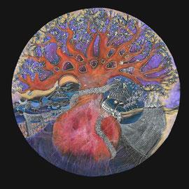Le chant du serpent - 2014 -   diam 70 cm - Pastels gras etsecs - Reproduction interdite