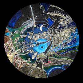 la magicienne - 2013 - diam 70cm - Pastels gras et secs, argent et ors  - Reproduction interdite