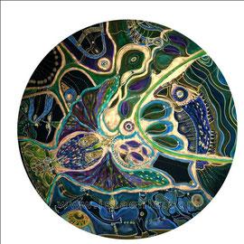 Papillon - diam 0.70cm - Pastels Gras et Ors - 2009 - Toute reproduction interdite