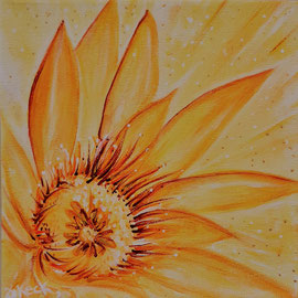 Sonnenblume, 20 x 20cm, Leinwand, verk