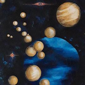 Neptun // Kosmos XIII // 92 x 73 cm // Ölfarbe auf Leinwand // 1500,00 Euro