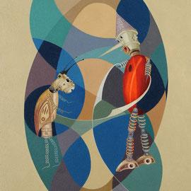 """""""Pinocchio e il Grillo Parlante"""" 2010   olio su tela sabbiata 80x70"""