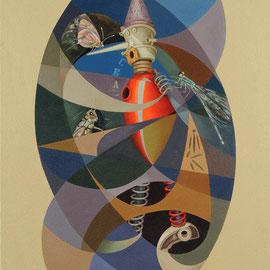 """Pinocchio nel Consorzio Umano"" 2007    olio su tela sabbiata 80x70"