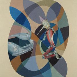 """Pinocchio a catena"" 2009    olio su tela sabbiata 100x100"
