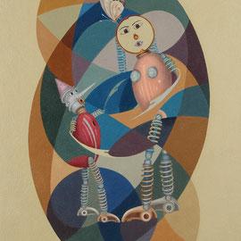 """Pinocchio e la Fatina"" 2010   olio su tela sabbiata 80x70"