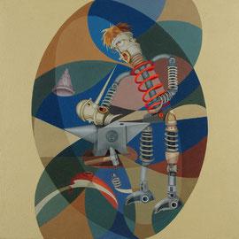 """""""Nascita di Pinocchio"""" 2009    olio su tela sabbiata 80x80"""