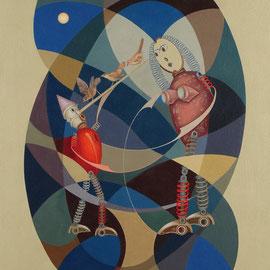 """Le bugie hanni il naso lungo"" 2011   olio su tela sabbiata 90x80"