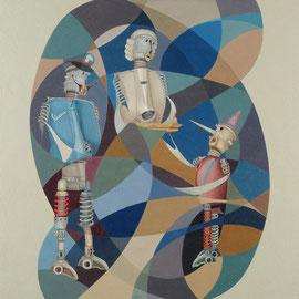 """Pinocchio castigato"" 2009   olio su tela sabbiata100x100"