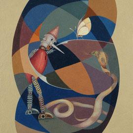 """""""Pinocchio e il Serpente"""" 2010    olio su tela sabbiata 70x60"""