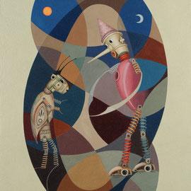 """""""Pinocchio incontra di nuovo il Grillo Parlante"""" 2010   olio su tela sabbiata 80x70"""