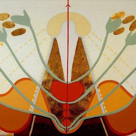 HELFER FÜR A. S., 2007/8, Acryl, Messing auf Leinen, 220x125cm