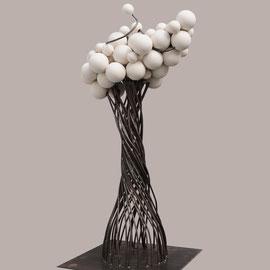Uthopie 2 - 65 Cm  X 45 Cm - Acier et céramique de porcelaine tournée