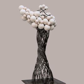 Uthopie 3 - 65 Cm  X 45 Cm - Acier et céramique de porcelaine tournée