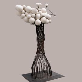 Uthopie 4 - 65 Cm  X 45 Cm - Acier et céramique de porcelaine tournée