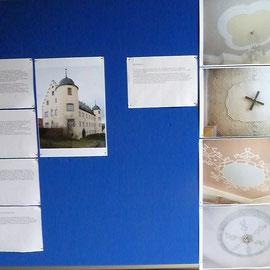 Auf verschiedenen Schautafeln wurden Informationen zur Baugeschichte, zu architektonischen Besonderheiten und Details aus der Vermessung und Bestandsaufnahme des Hauptgebäudes vermittelt.