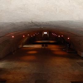Aus der Eingangshalle gelangt man über eine breite Treppe in den Keller, der sich mit seiner Bühne besonders für kulturelle Veranstaltungen eignet.
